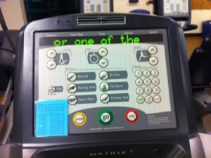 on a treadmill at the YMCA.