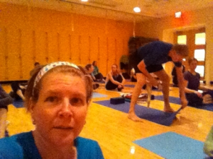 So here I am at yoga. I didn't know it at the time, but the look on my face was a foreshadowing of the class.