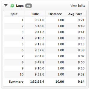 Despite a couple of pace times that were slower than the overall pace time goal; I am psyched about these pace times!